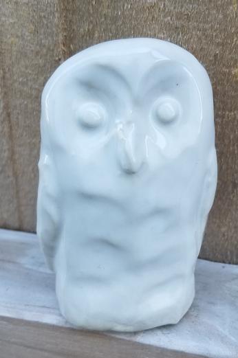 Owl sculpture with white glaze