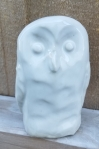 Owl sculpture with white glaze