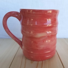 Brushstroke mug in pinkish-red.