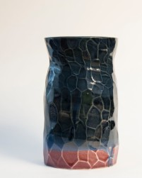 Vase in midnight and raspberry.